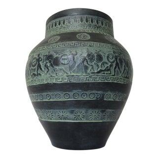 C.1960-70s Greek Handmade Terra-Cotta, Greek Key & Trojan Warriors Display Vase For Sale
