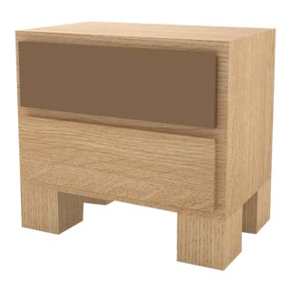 Contemporary 101 Bedside in Oak and Brown by Orphan Work, 2020 For Sale