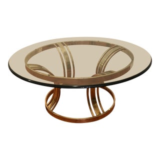 Late 20th Century Vintage Glam Brass Coffee Table For Sale