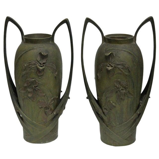 Pair of Art Nouveau Iris Vases by Blanche Poccard De Saintilau, 1902 For Sale