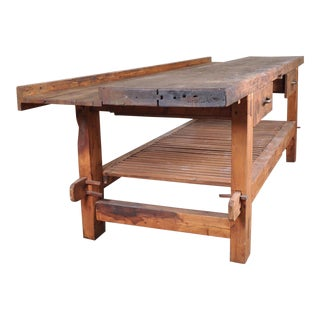 1950s French Reclaimed Wood Workers Bench Table For Sale