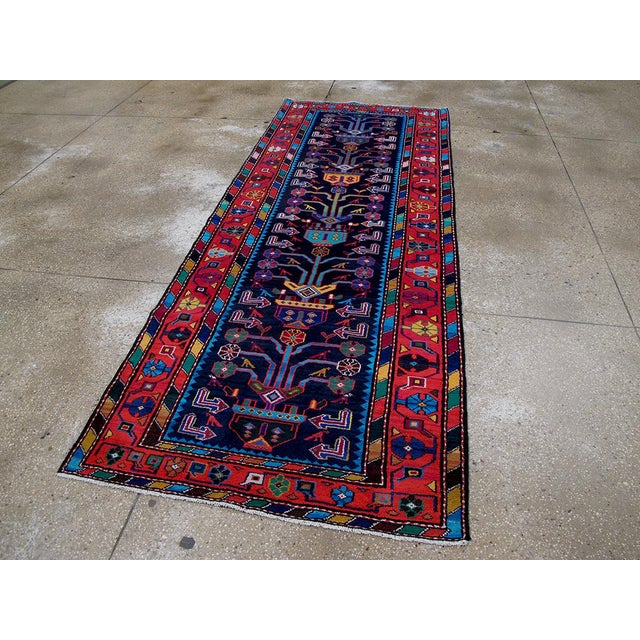 "Mid-Century Modern Persian Rug - 3'7"" x 9'7"" - Image 2 of 8"