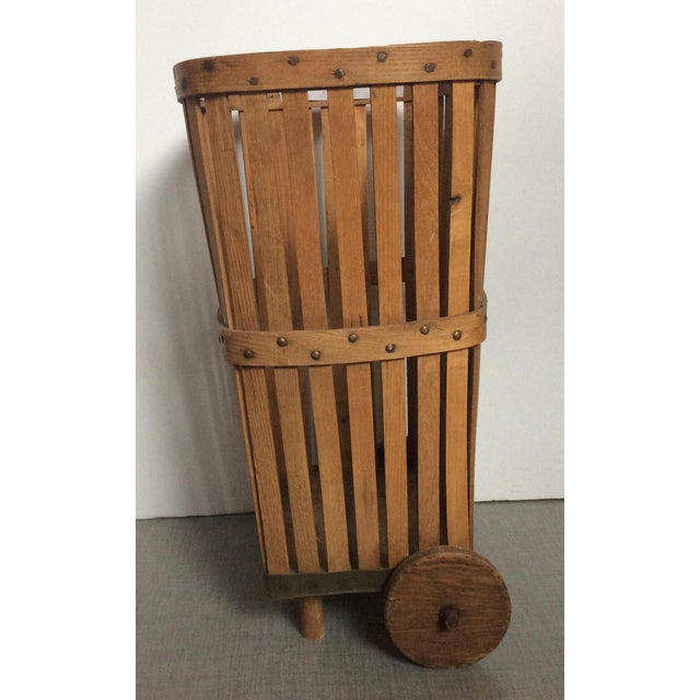 Antique 1920s Wood Baskets on Wheels - Image 7 of 9