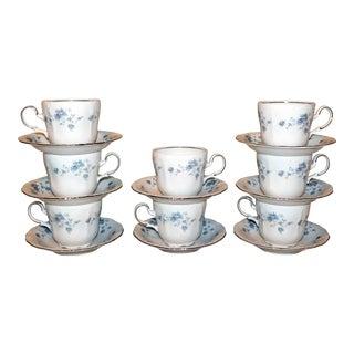 Vintage Johann Haviland Blue Garland Teacups & Saucers - Set of 16 For Sale