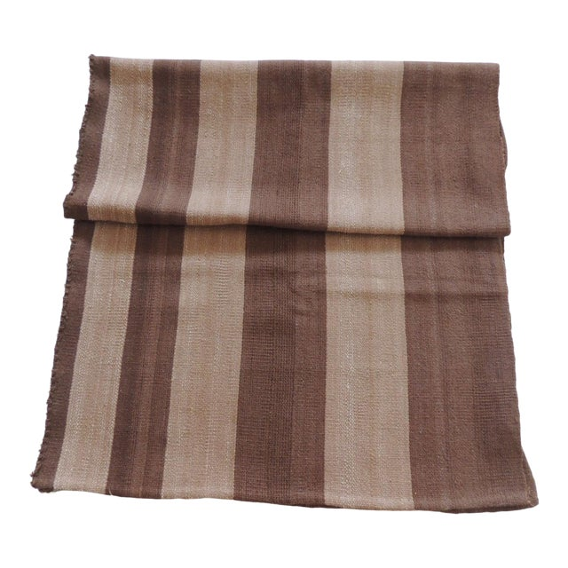 Vintage Brown and Camel Woven Textile For Sale