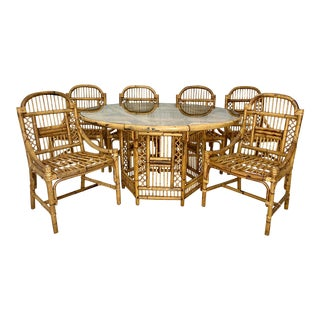 Vintage Brighton Style Rattan Dining Set - Set of 7 For Sale