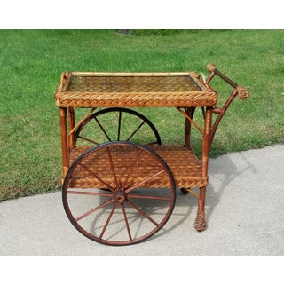 Antique Wicker Tea Trolley Bar Cart Preview
