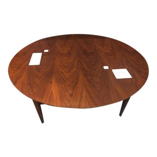 1960s Mid Century Modern Walnut Coffee Table With White Inlaid Tiles For Sale