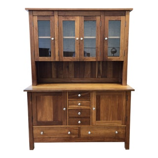 Heartwood Cherry Sideboard + Hutch by Crate & Barrel For Sale