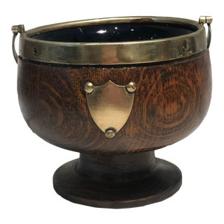 Mid 19th Century English Regency Wooden Brass Bound Bowl With Plaque and Handle - Treenware For Sale