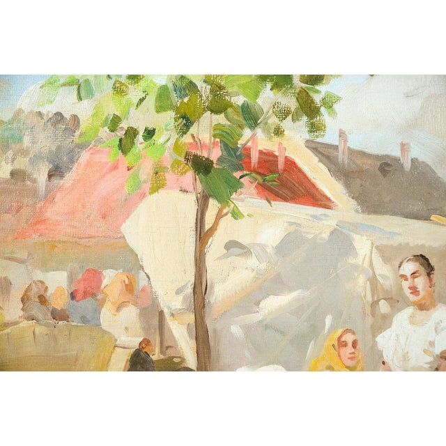Rustic Gyula Nemeth -Women at an Outdoor Market- Hungarian Oil Painting C.1910 For Sale - Image 3 of 8