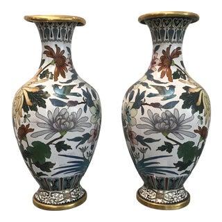 Vintage Cloisonné Chinoiserie Vases - a Pair For Sale