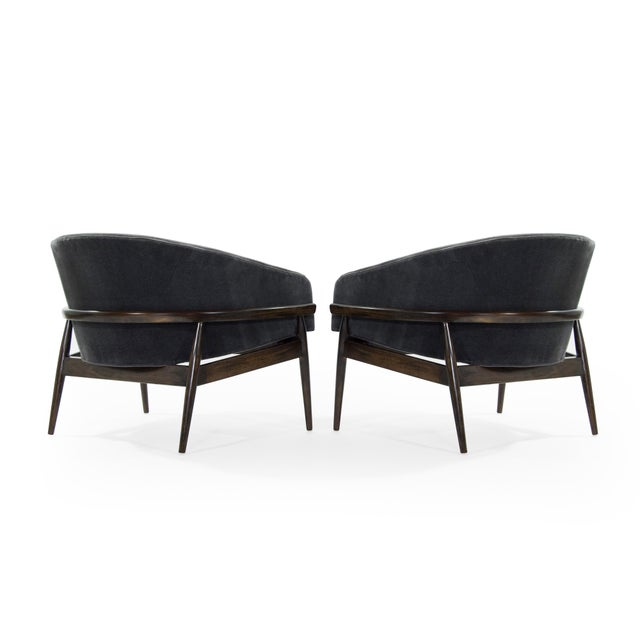 Milo Baughman for Thayer Coggin 1950s Milo Baughman Sculptural Mohair Barrel Lounge Chairs - a Pair For Sale - Image 4 of 12