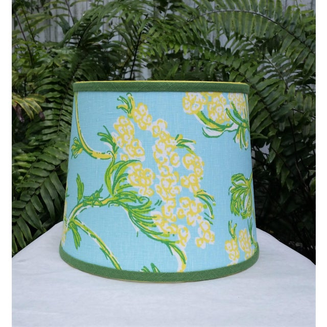Lilly Pulitzer Fabric Blue Floral Blue Green Yellow Tropical Lampshade For Sale - Image 10 of 12