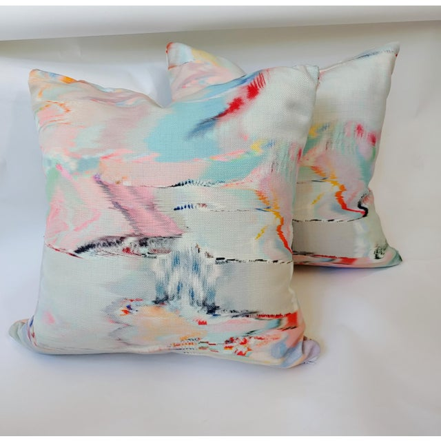 Watercolor Pillow Covers a - a Pair For Sale - Image 4 of 4