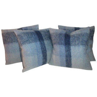 Mohair or Lambs Wool Blue Pillows / 4 For Sale