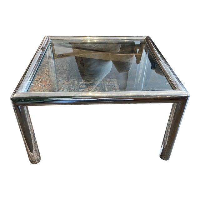 John Mascheroni Mid-Century Modern Tubo Series Chrome and Glass Coffee Table For Sale