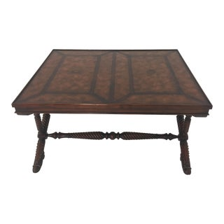 1990s Traditional Mahogany and Leather Theodore Alexander Coffee Table For Sale