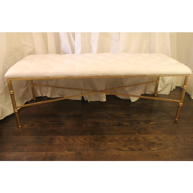 Worlds Away White Tufted Leatherette Gold Faux Bamboo Bench For Sale - Image 12 of 12