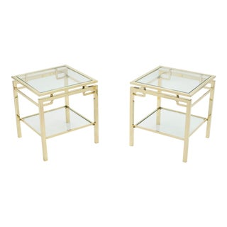 French Guy Lefevre for Maison Jansen Brass 2-Tier End Tables - a Pair For Sale