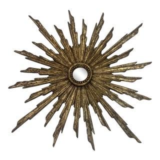Gold Leaf Sunburst Mirror For Sale