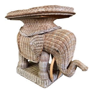 Vintage Woven Rattan Elephant Tray Table For Sale