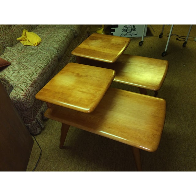 2 Heywood Wakefield Champagne Two-Tier Lamp Tables - Image 2 of 8