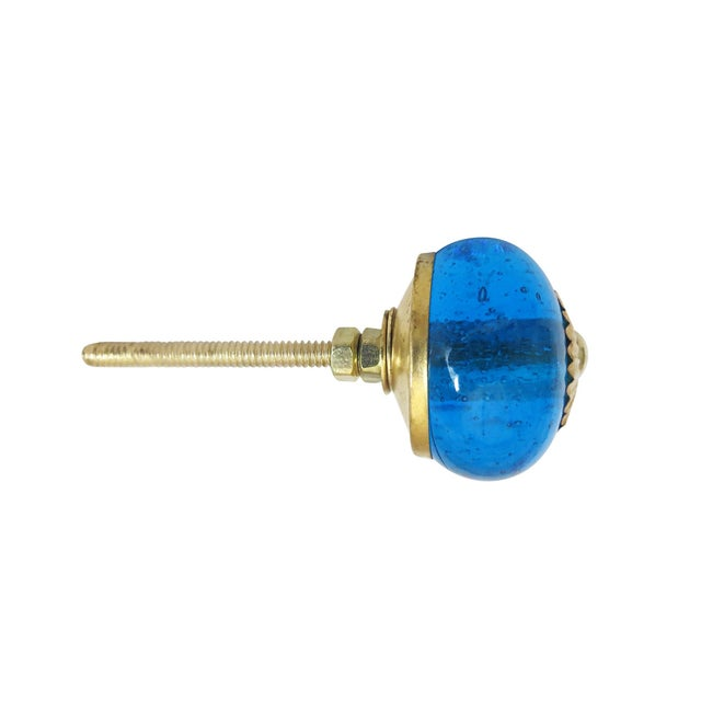 Blue Glass Round Knobs - Set of 6 - Image 2 of 3