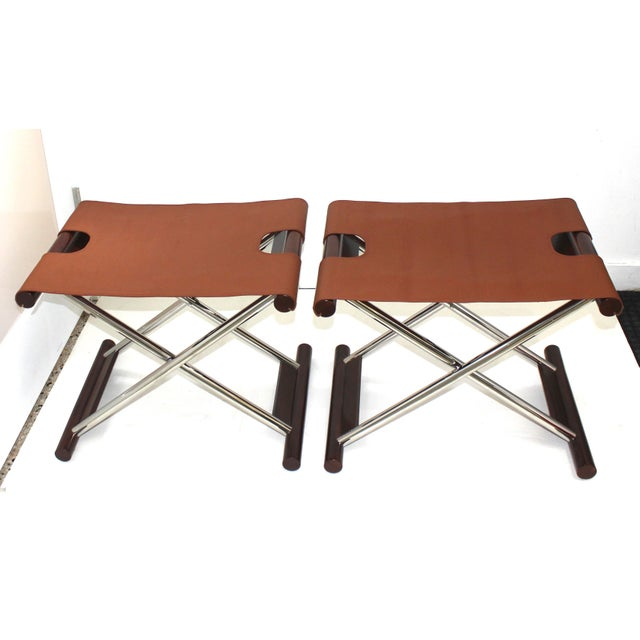 Vintage Folding X-Sling Stools in Leather, Stainless Steel and Mahogany -- a Pair size when opened is 23 wide, 17.5 deep,...