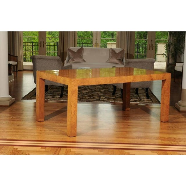 Thayer Coggin Outstanding Extension Dining or Conference Table in Bookmatched Olivewood For Sale - Image 4 of 10