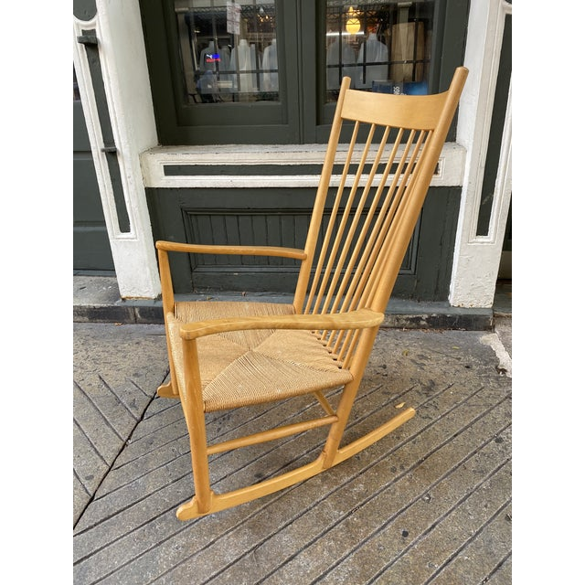 Hans Wegner Model J16 Beech Rocking Chair. All Original, papercord in very nice shape. Nice Scale Rocker, Beech shows some...