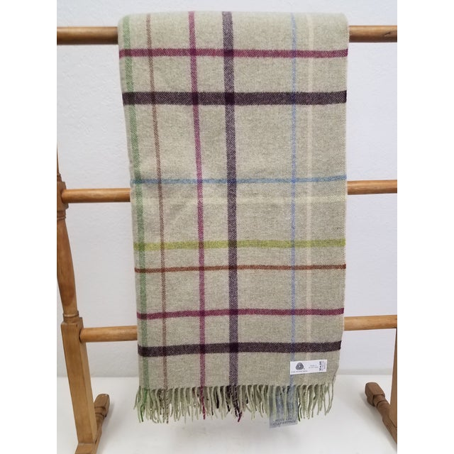 Wool Throw Multi Color Stripes on Beige Background - Made in England For Sale - Image 12 of 12
