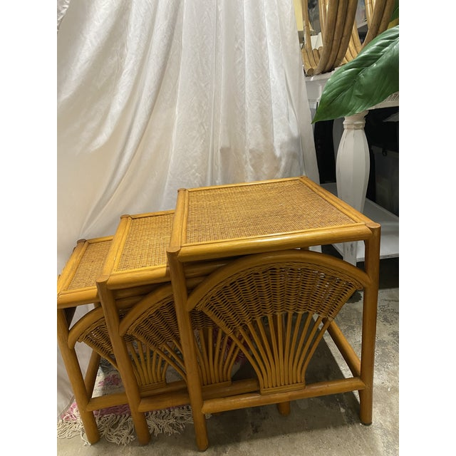 1970s Golden Palm Beach Bamboo and Rattan Nesting Tables - Set of 3 For Sale - Image 9 of 11