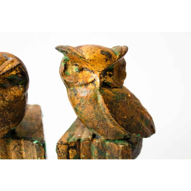 American Cast-Metal Painted Owl Bookends - a Pair For Sale - Image 3 of 7