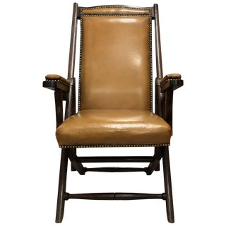 19th Century English Mahogany Campaign Chair For Sale