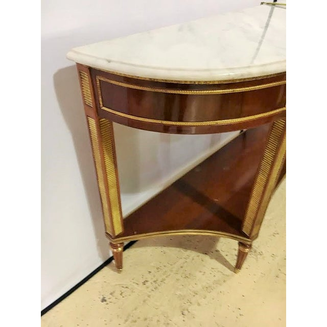 Marble Top Demi Lune Console Tables - Pair - Image 6 of 7