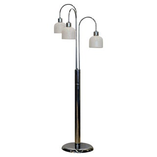 Mid Century Robert Sonneman Style Chrome Waterfall Floor Lamp With Glass Shades For Sale