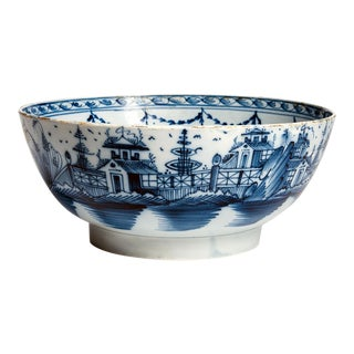 English Blue & White Pearlware Pottery Bowl, Circa 1790-1800 For Sale