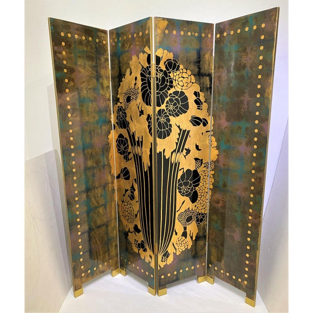 Vintage Art Deco E J Ruhlmann Style 4-Panel Room Divider Screen For Sale - Image 9 of 13