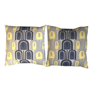 """Mid-Century 20"""" Yellow, Gray and Navy Blue Geomatric Decorative Pillows - a Pair"""