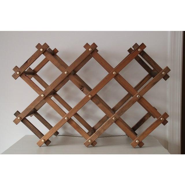 Vintage Wooden Accordion Wine Rack - Image 2 of 4