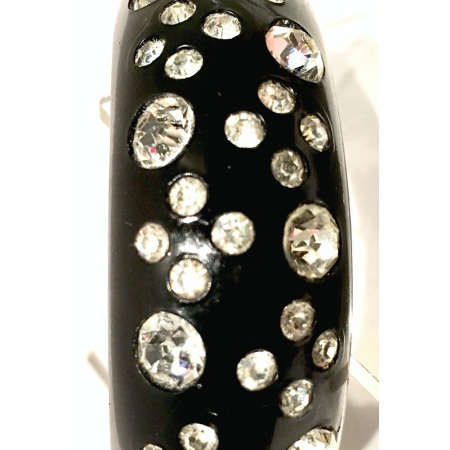 Black 1950's Vintage Weiss Black Thermoplastic & Swarovski Crystal Clamper Cuff Bracelet For Sale - Image 8 of 11
