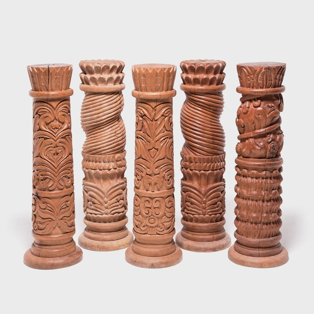 Set of Five Guatemalan Carved Columns For Sale - Image 12 of 12