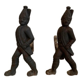 Antique Hessian Soldier Andirons - a Pair For Sale