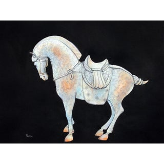 Tang Horse Blue Scroll II Painting by Heidi Lanino For Sale