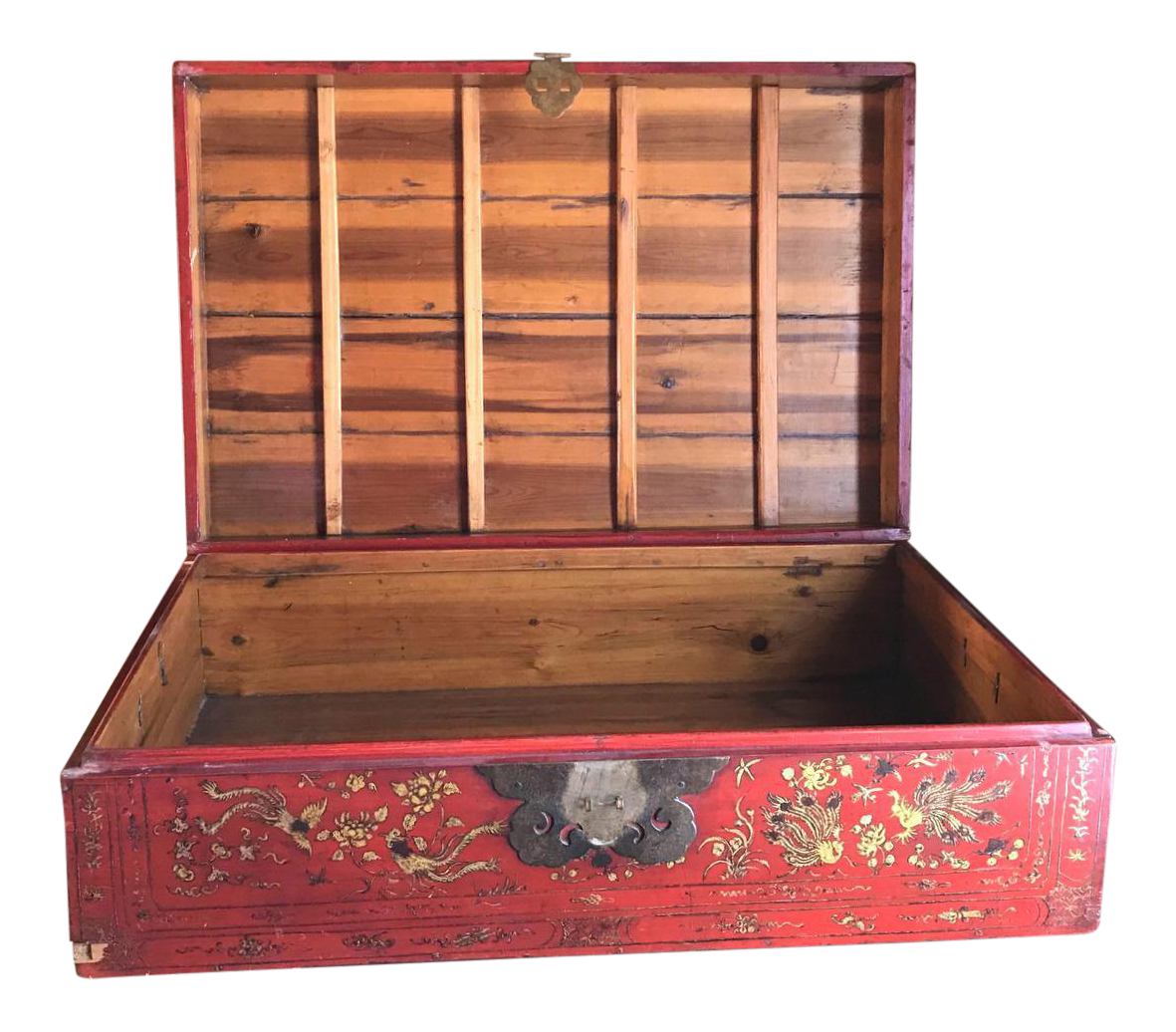 Charmant Red Asian Trunk, Vintage Wood Storage Box, Golden Roosters