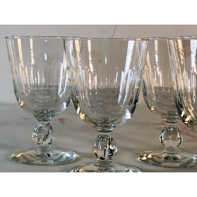 1950s 1950s Mitred Glass Wine Stems, Set of 6 For Sale - Image 5 of 9