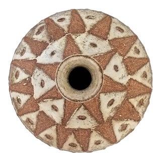 Large Vintage 1976 Brutalist Ceramic Studio Art Pottery Vase -Signed-Mid Century Modern MCM Earthenware Stoneware Organic Boho Chic For Sale