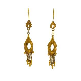 18k Gold Dangling Pierced Earrings For Sale