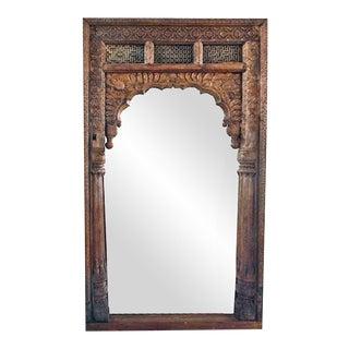 Antique Doorway Wooden Mirror For Sale